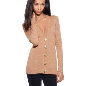 Tory Burch Merino Wool Tan Simone Cardigan Sweater